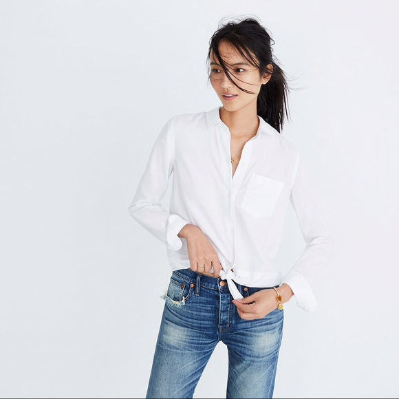 548179ac Madewell Tops | White Button Down Tie Front Shirt | Poshmark